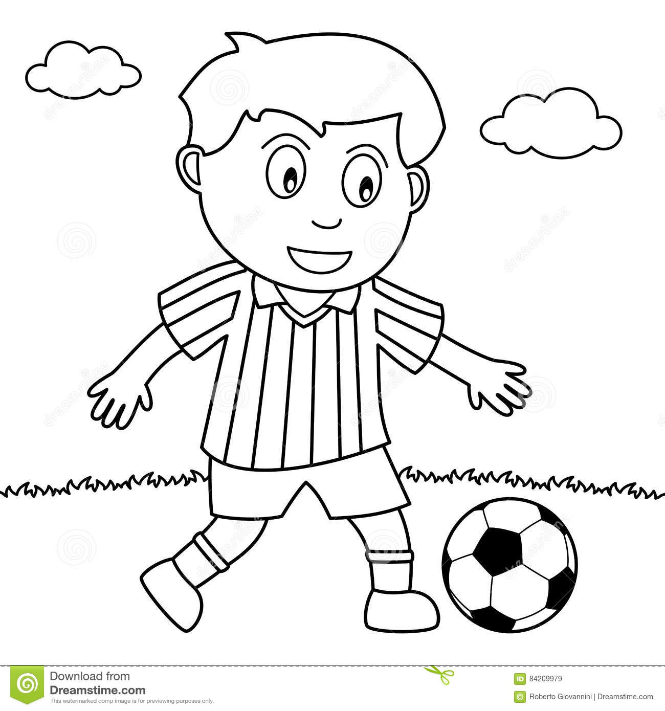 Coloring Boy Playing Soccer In The Park Stock Vector - Illustration ...