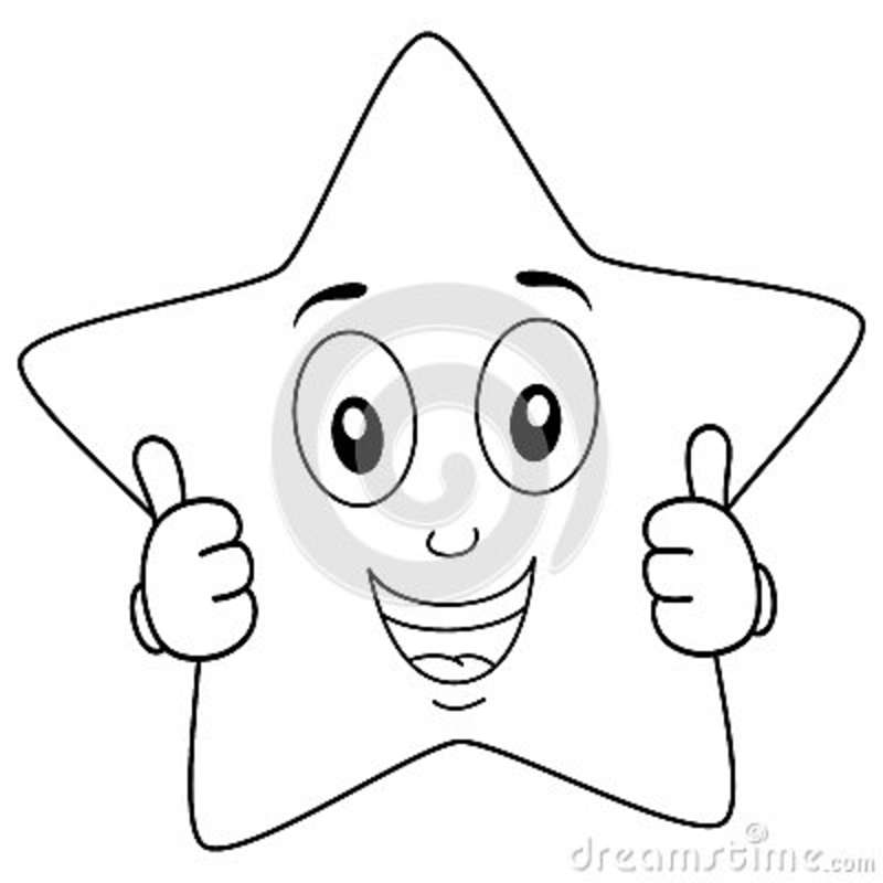 Coloring Brilliant Star Character Thumbs Up Stock Vector