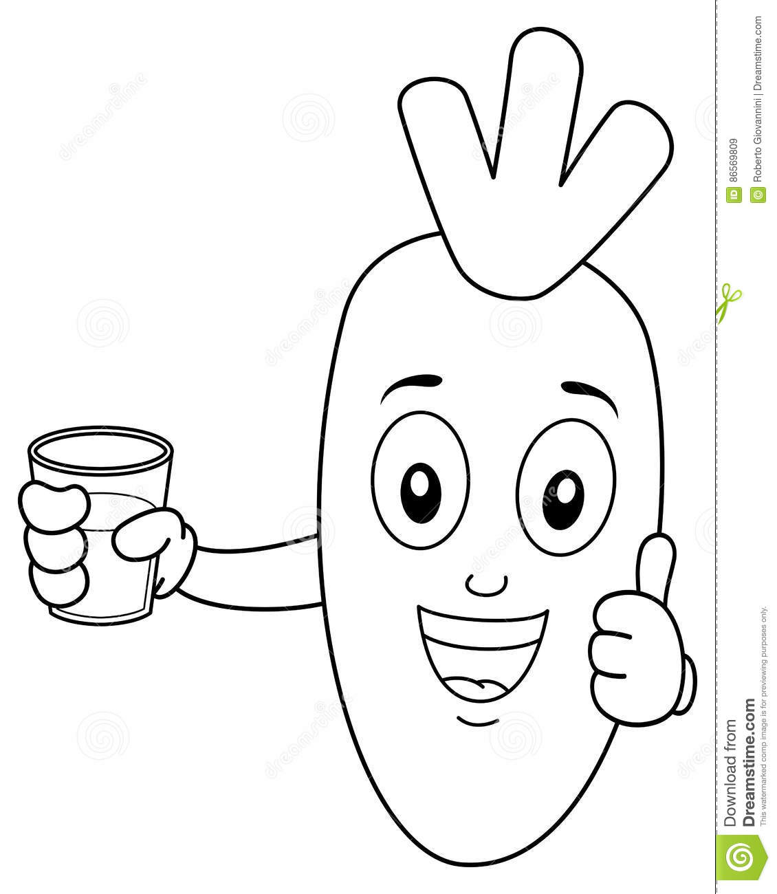Coloring Carrot With Fresh Squeezed Juice Stock Vector