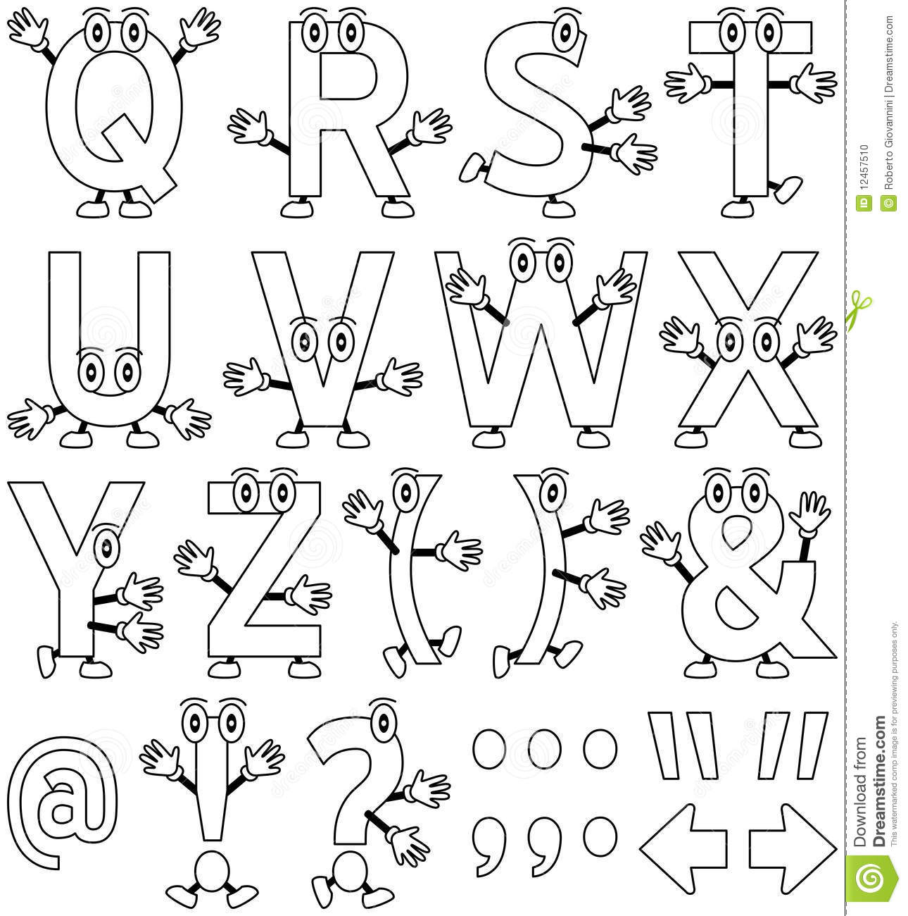 coloring cartoon alphabet  2  stock vector