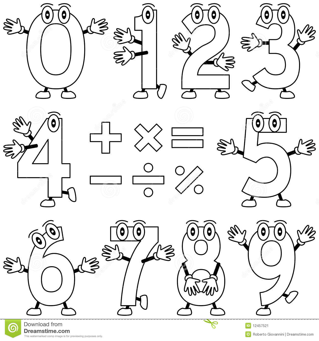 cartoon numbers coloring pages - photo#12