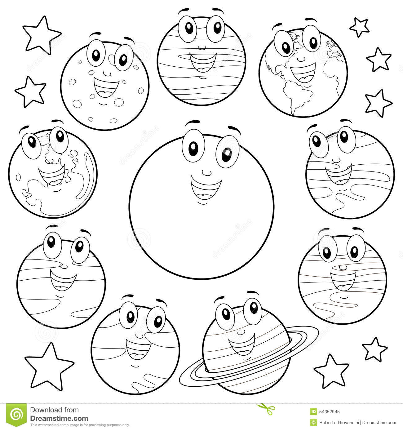 coloring cartoon planets with sun moon - Planets Coloring Pages