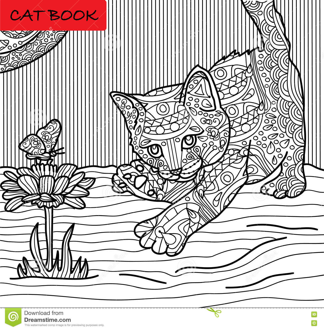 Zen cat coloring page - Coloring Cat Page For Adults Kitten Hunts On A Butterfly Hand Drawn Illustration With Patterns