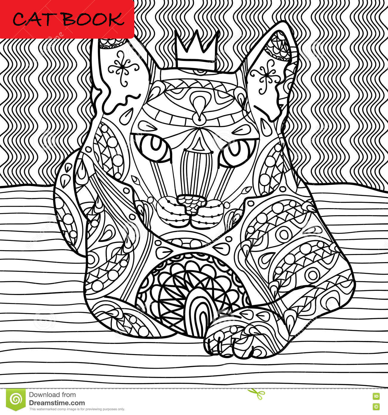 Coloring Cat Page For Adults Majestic With The Crown Looks Pensive Hand Drawn
