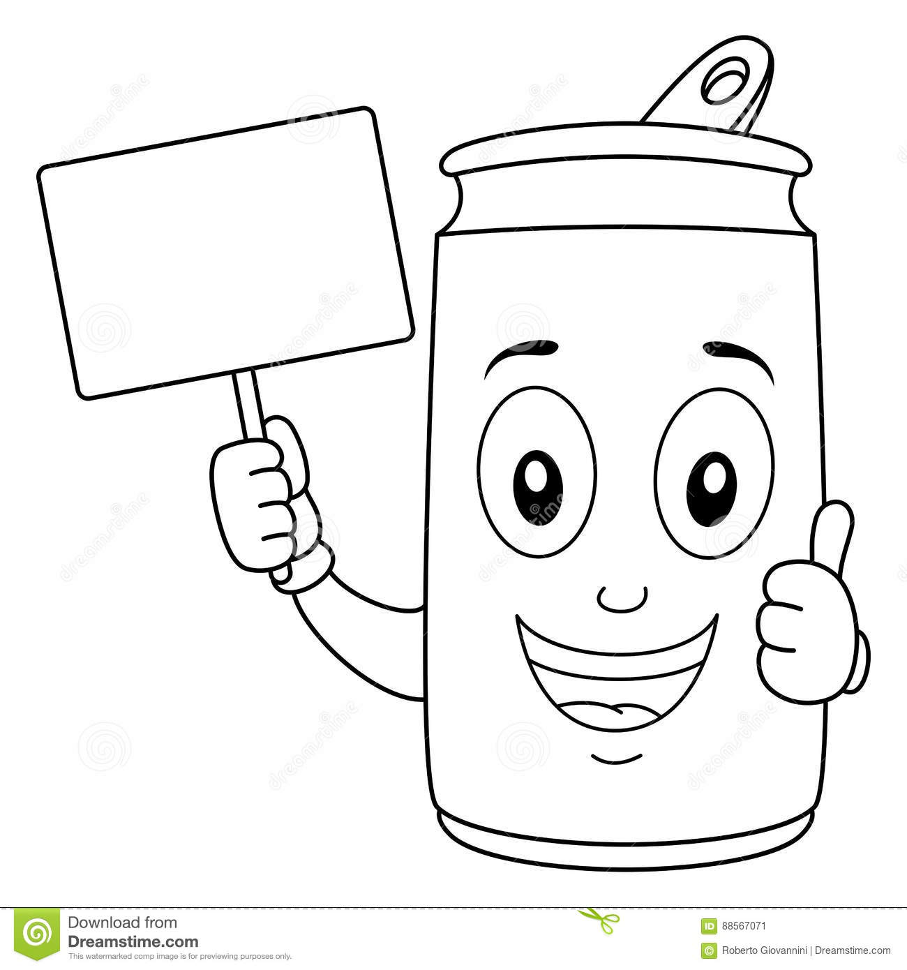 soda can character with blank royalty