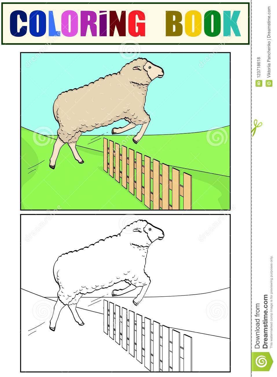 Coloring For Children And Color, The Sheep Jumps Over The Fence ...