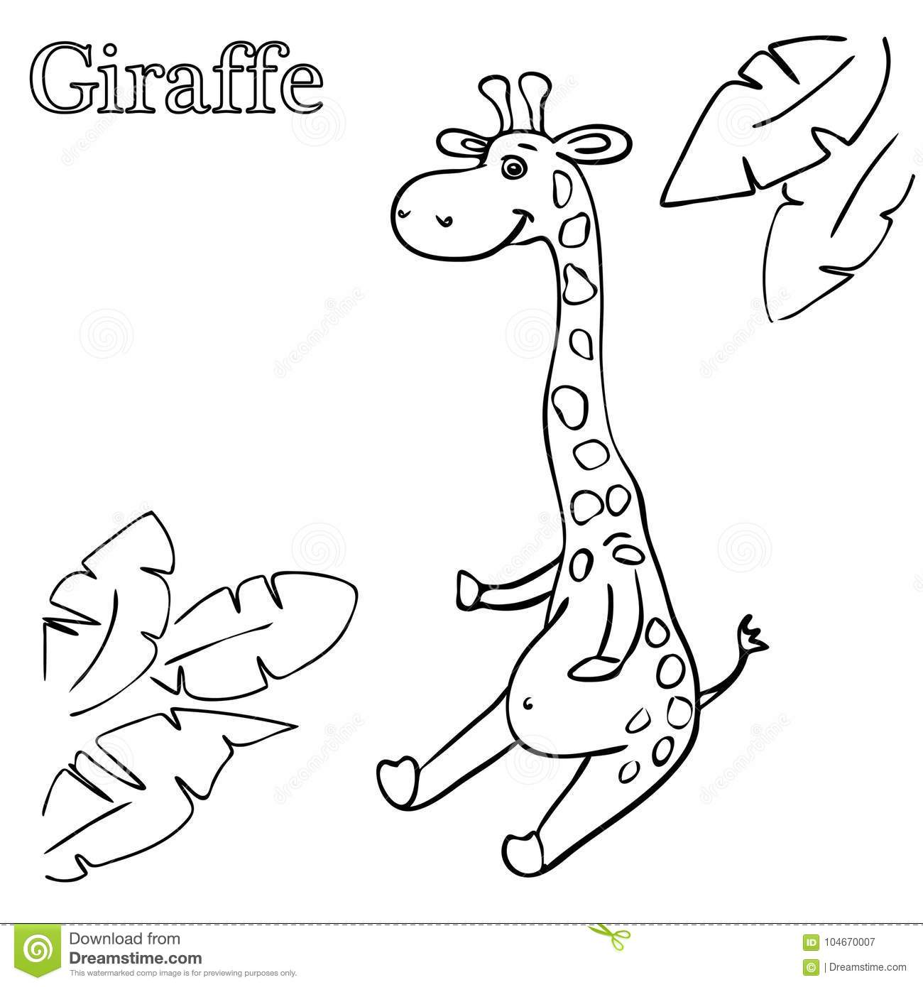 Giraffe Coloring Pages For Children Eps 10 Stock Illustration