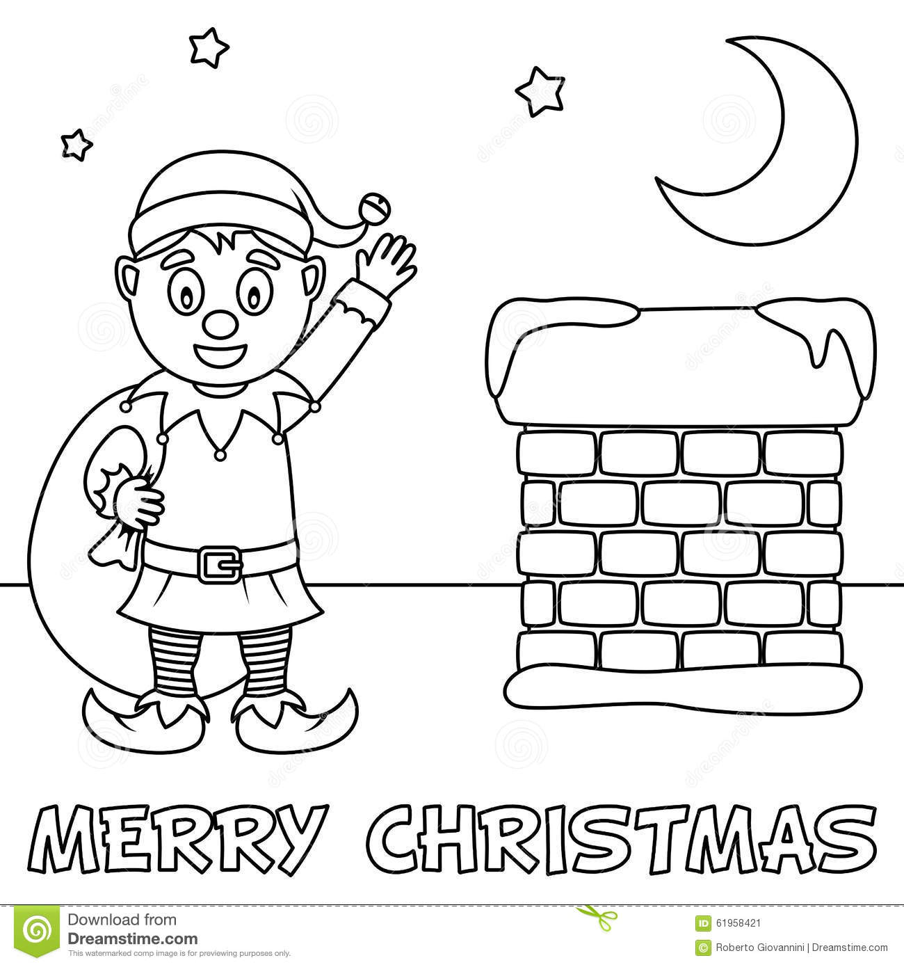 Coloring Christmas Card With Cute