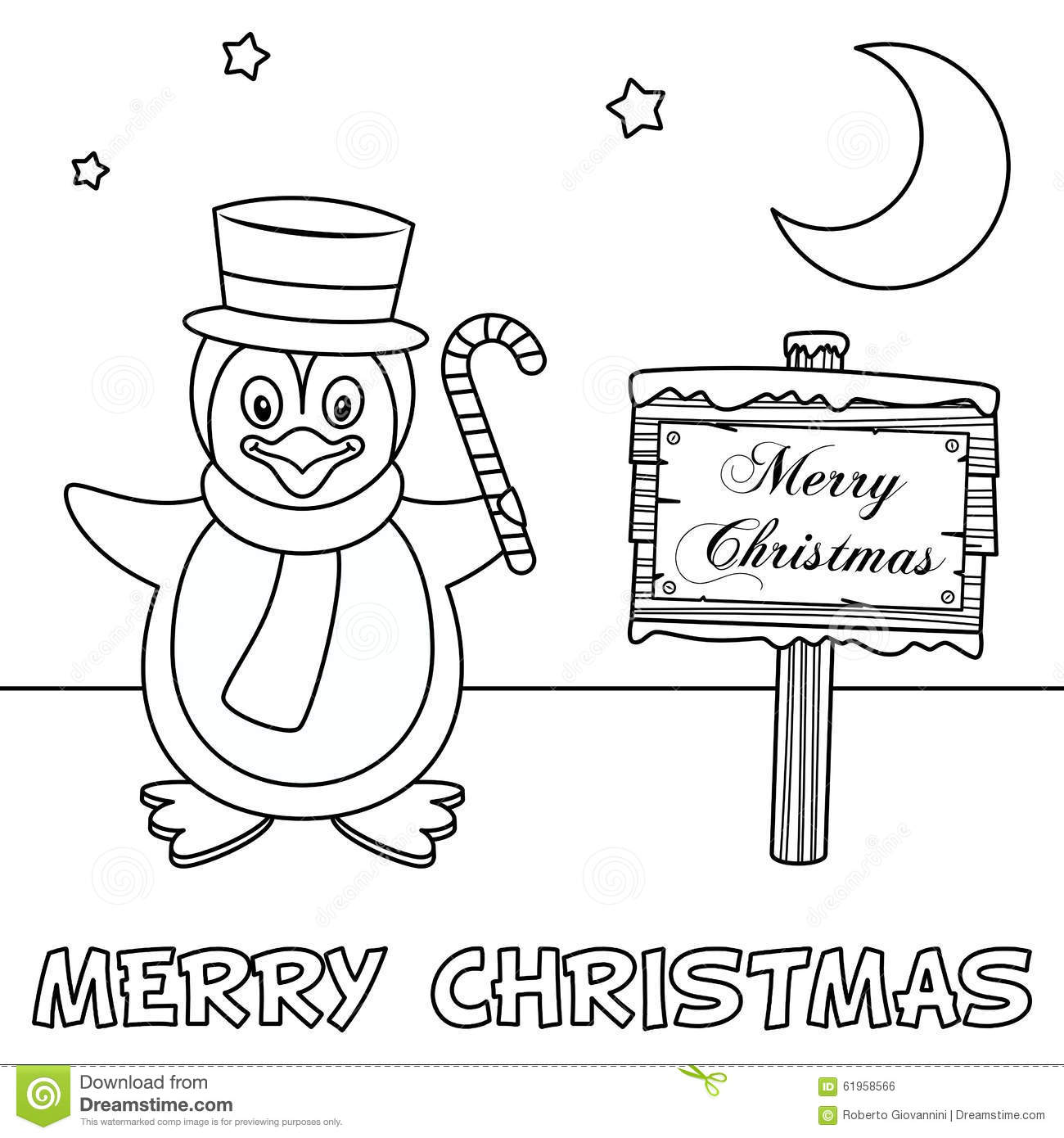 Coloring Christmas Card With Penguin Stock Vector