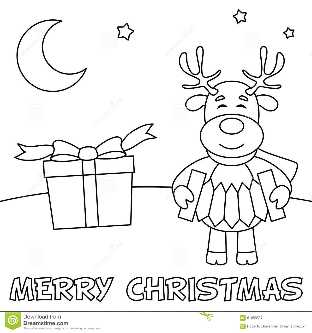 Coloring Christmas Card With Reindeer Stock Vector ...