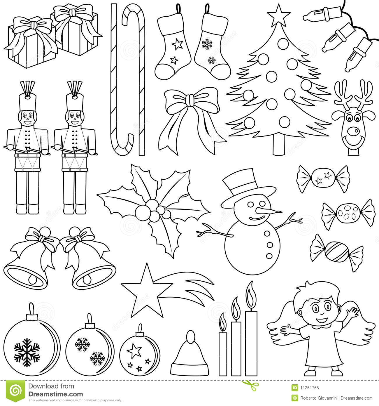 Coloring christmas elements royalty free stock photo for Disegni di natale facili per bambini