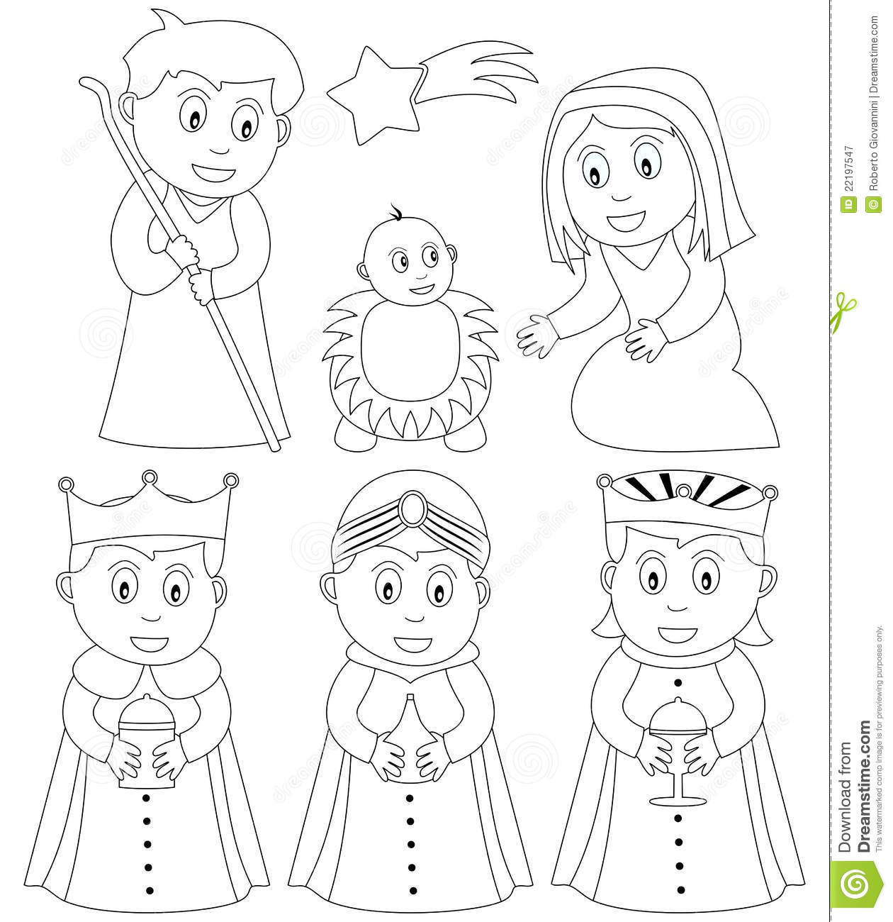 Coloring Christmas Nativity Stock Vector - Illustration of infant ...