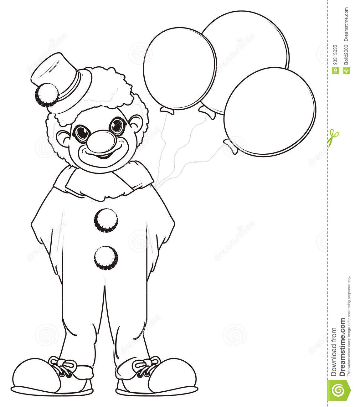 Coloring Clown With Balloons Stock Illustration - Illustration of ...