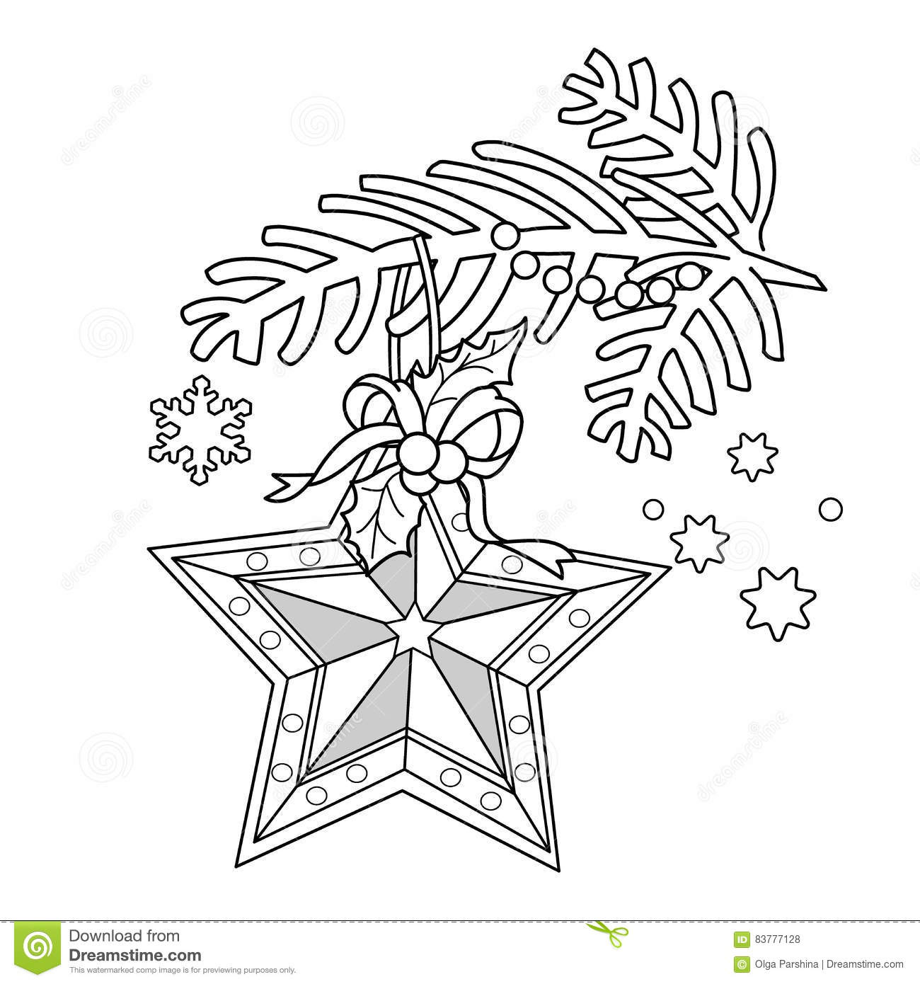 coloring coloring page outline of christmas decoration star christmas tree branch new year