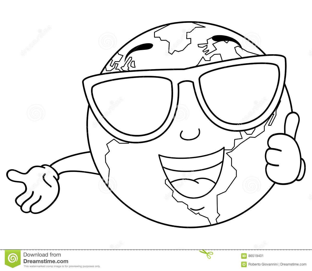 coloring planet earth sketched doodle vector illustration