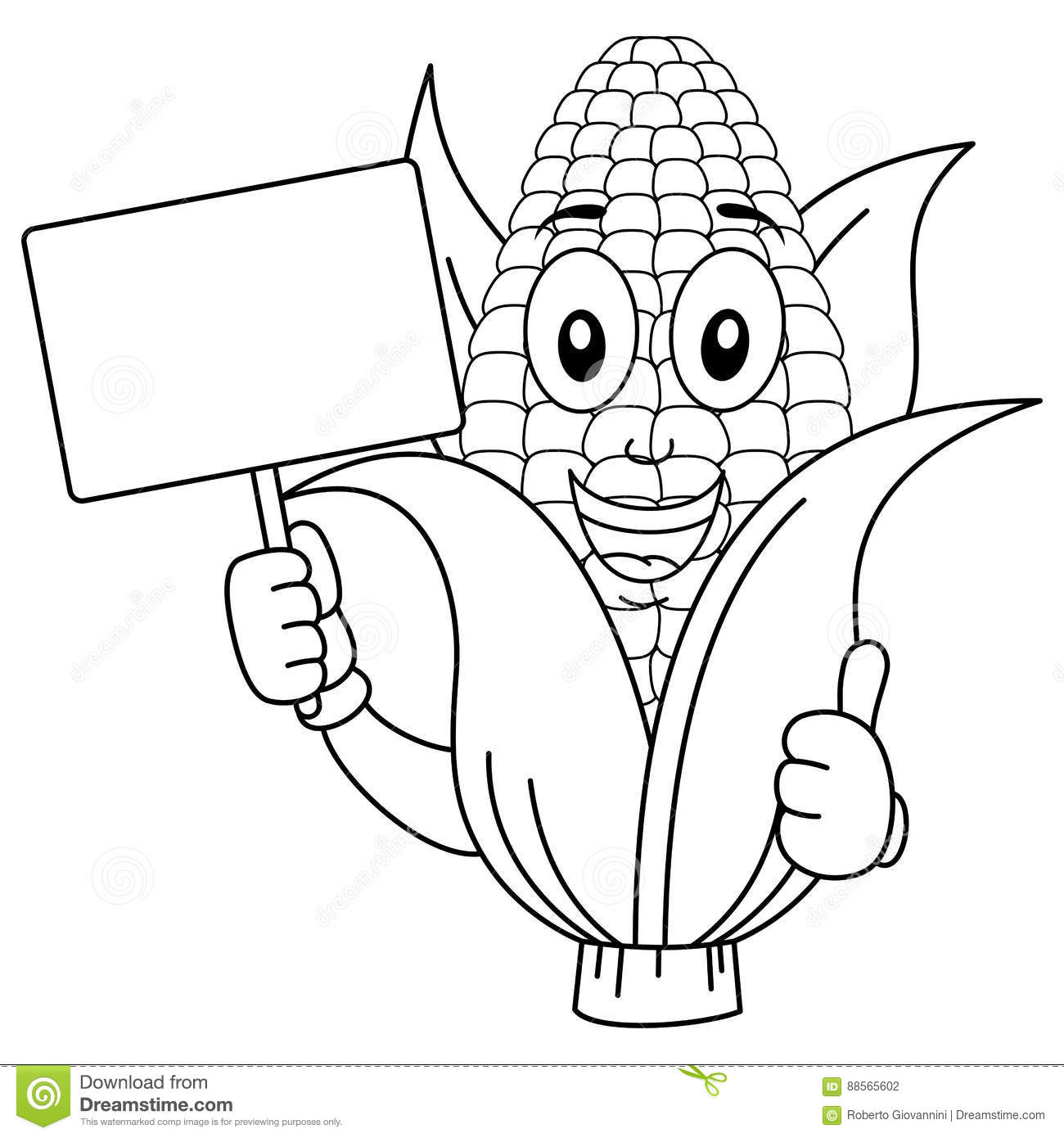 coloring corn cob character with banner stock vector