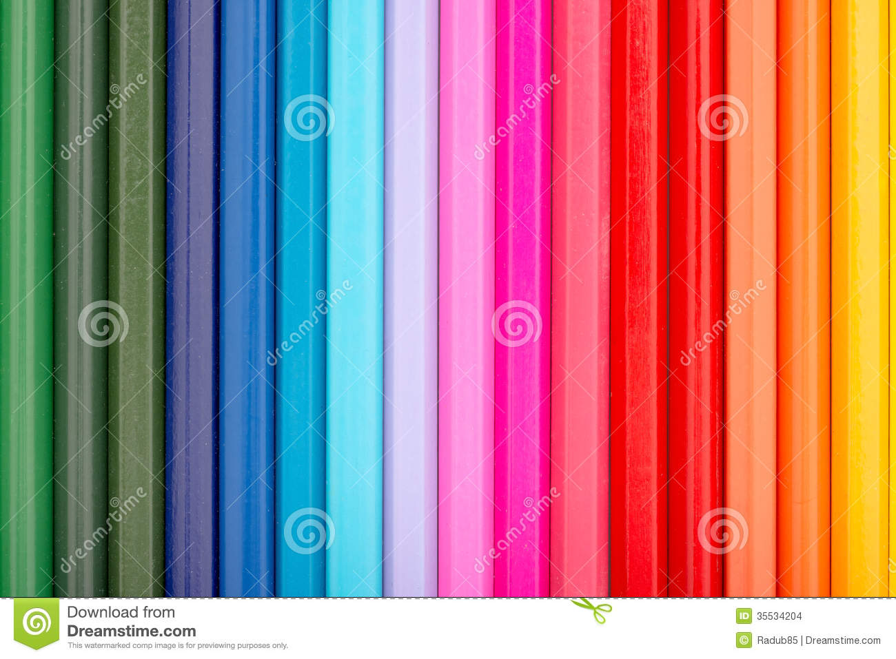 Coloring Crayons Arranged In Rainbow Line Stock Photo - Image of ...