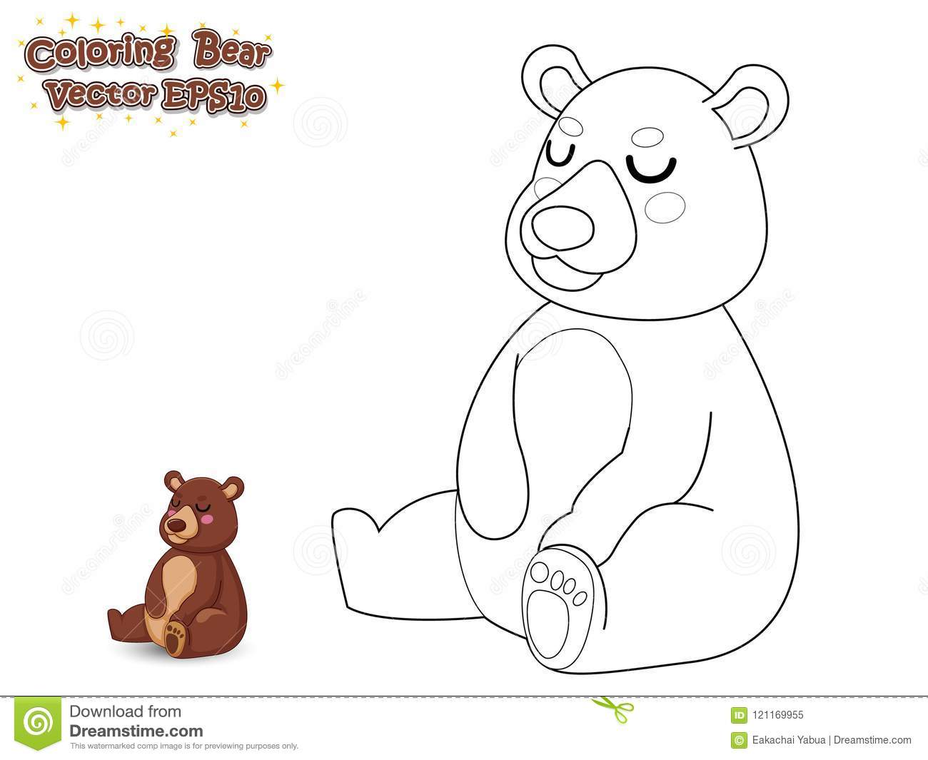 Coloring The Cute Cartoon Bear. Educational Game For Kids ...