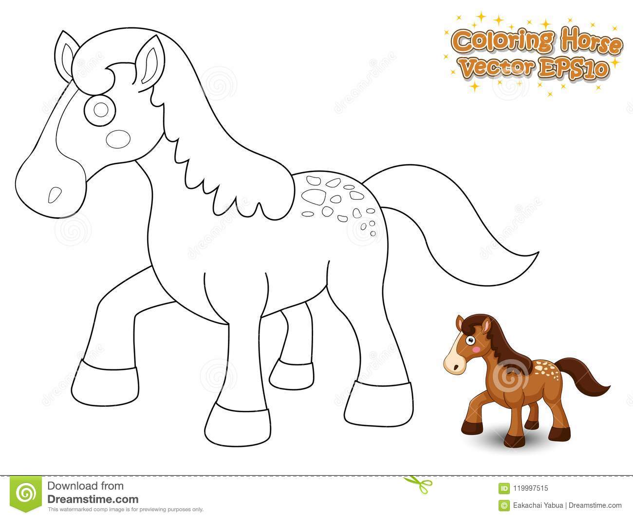 Coloring The Cute Cartoon Horse. Educational Game For Kids ...