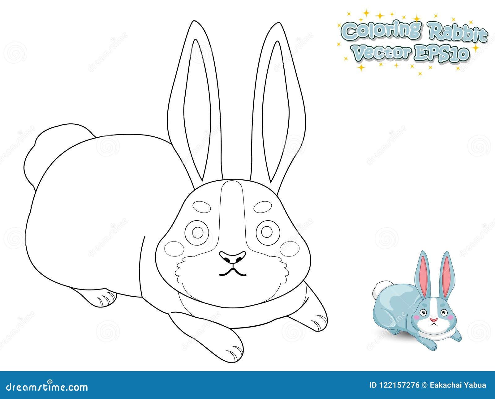 coloring cute cartoon rabbit educational game kids vec coloring cute cartoon rabbit educational game kids vector