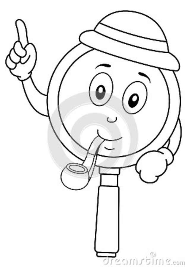 Coloring Cute Magnifying Glass Character Stock Vector Illustration