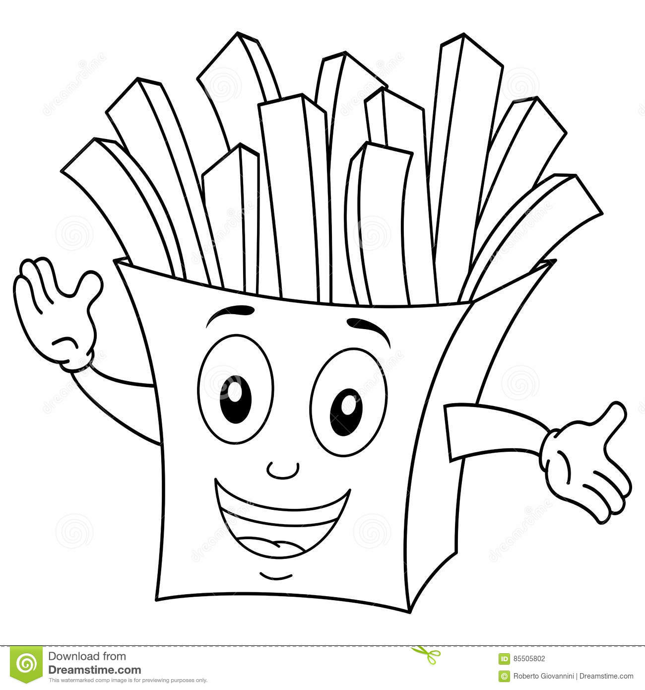potato chip coloring page - coloring cute paper bag with french fries stock vector