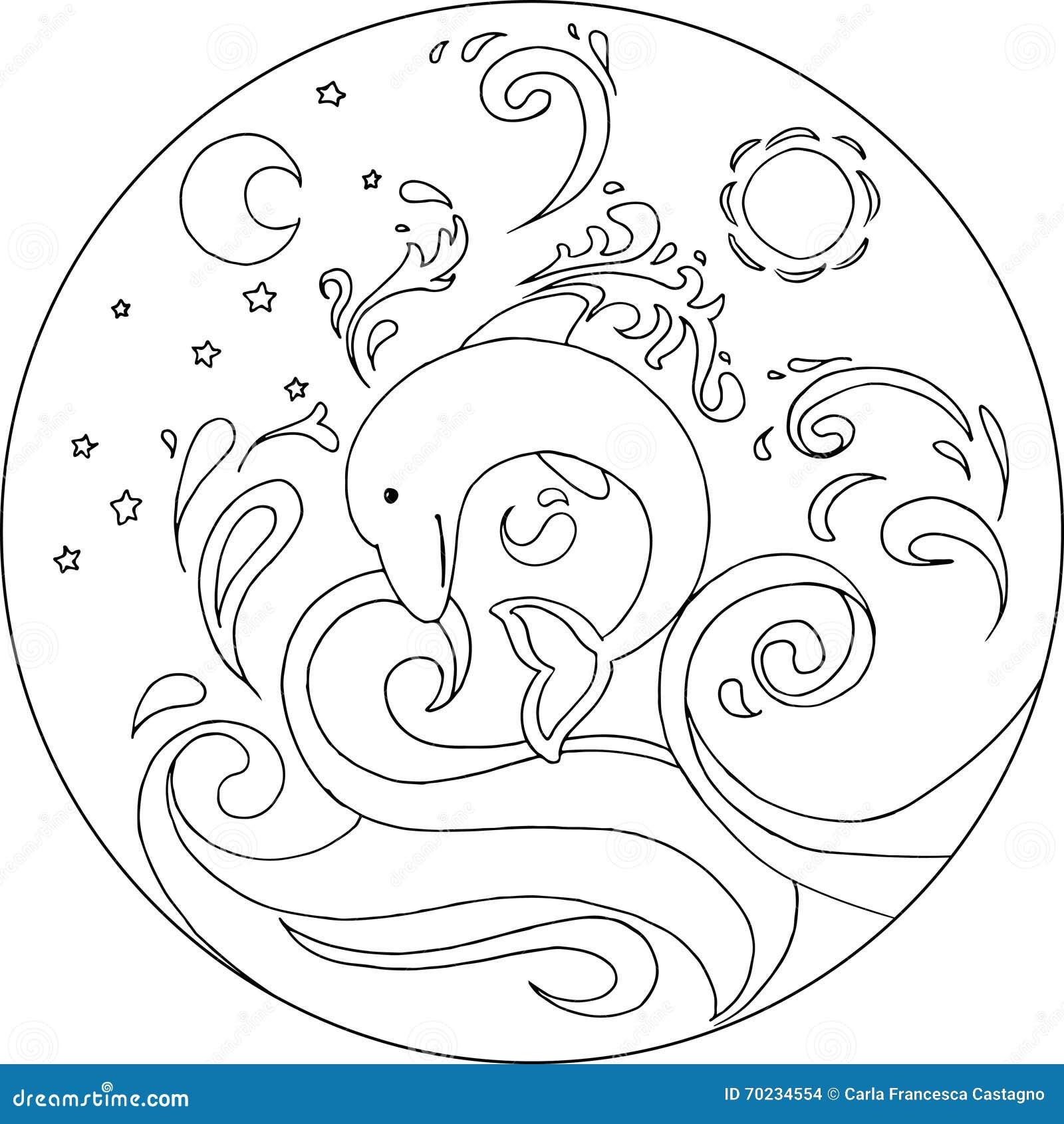 water mandala coloring pages | Coloring Dolphin Mandala stock vector. Illustration of ...