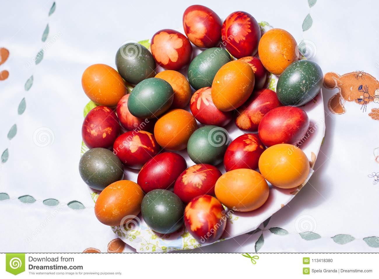 Coloring Easter Eggs In Natural Dyes Stock Photo - Image of flowers ...