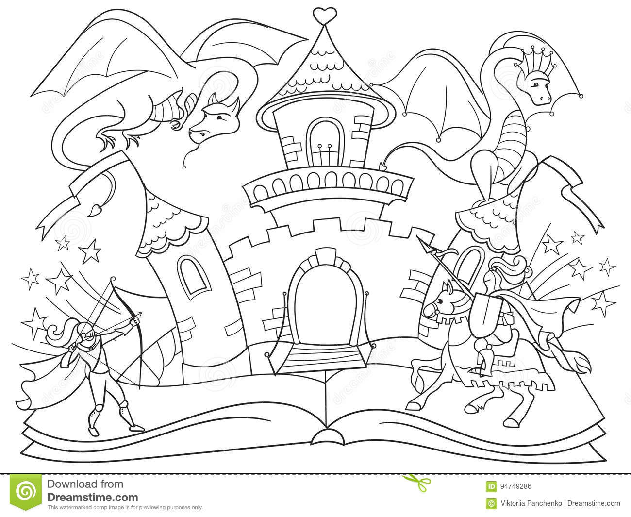 Tale cartoons illustrations vector stock images 41616 for Dragon and castle coloring pages