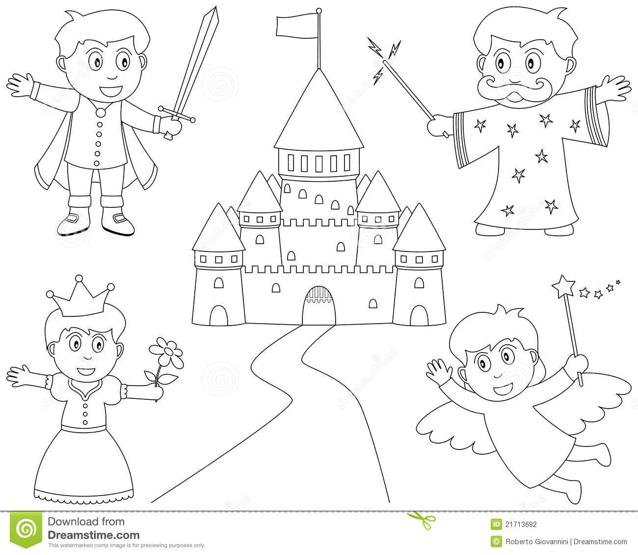 Coloring Fairy Tale Characters Stock Vector - Illustration ...