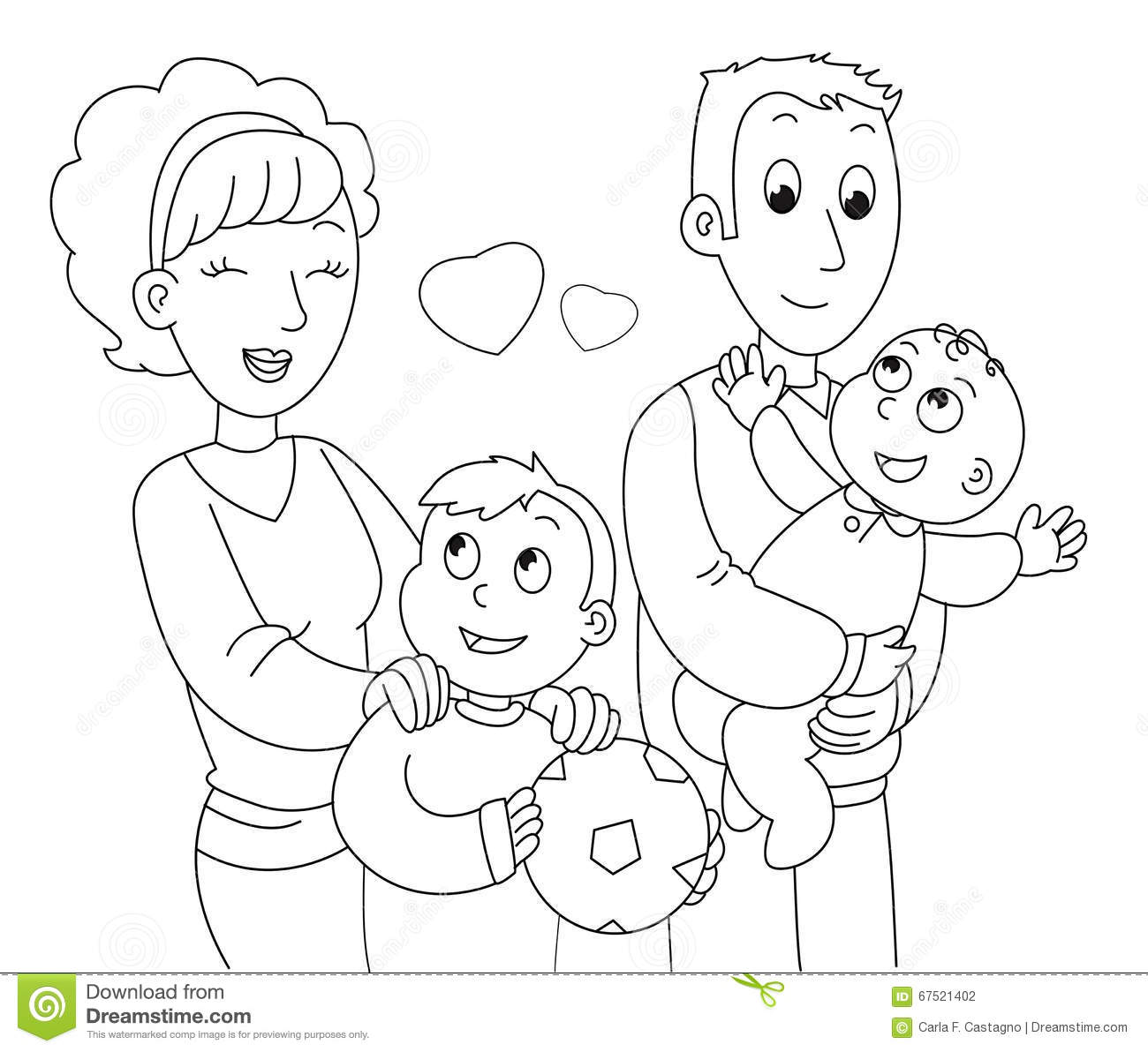 coloring family vector stock vector  illustration of