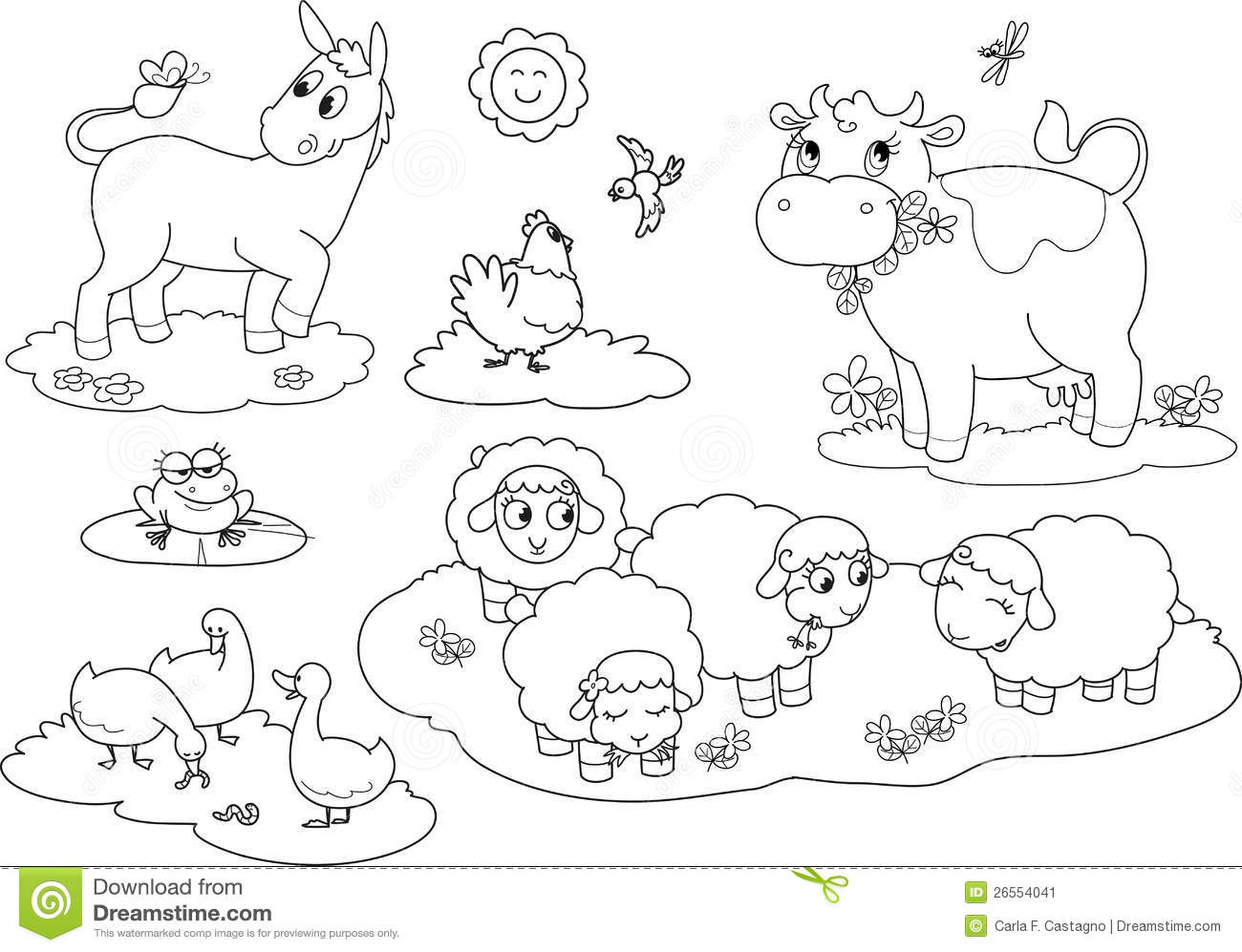 Coloring farm animals 2 stock vector