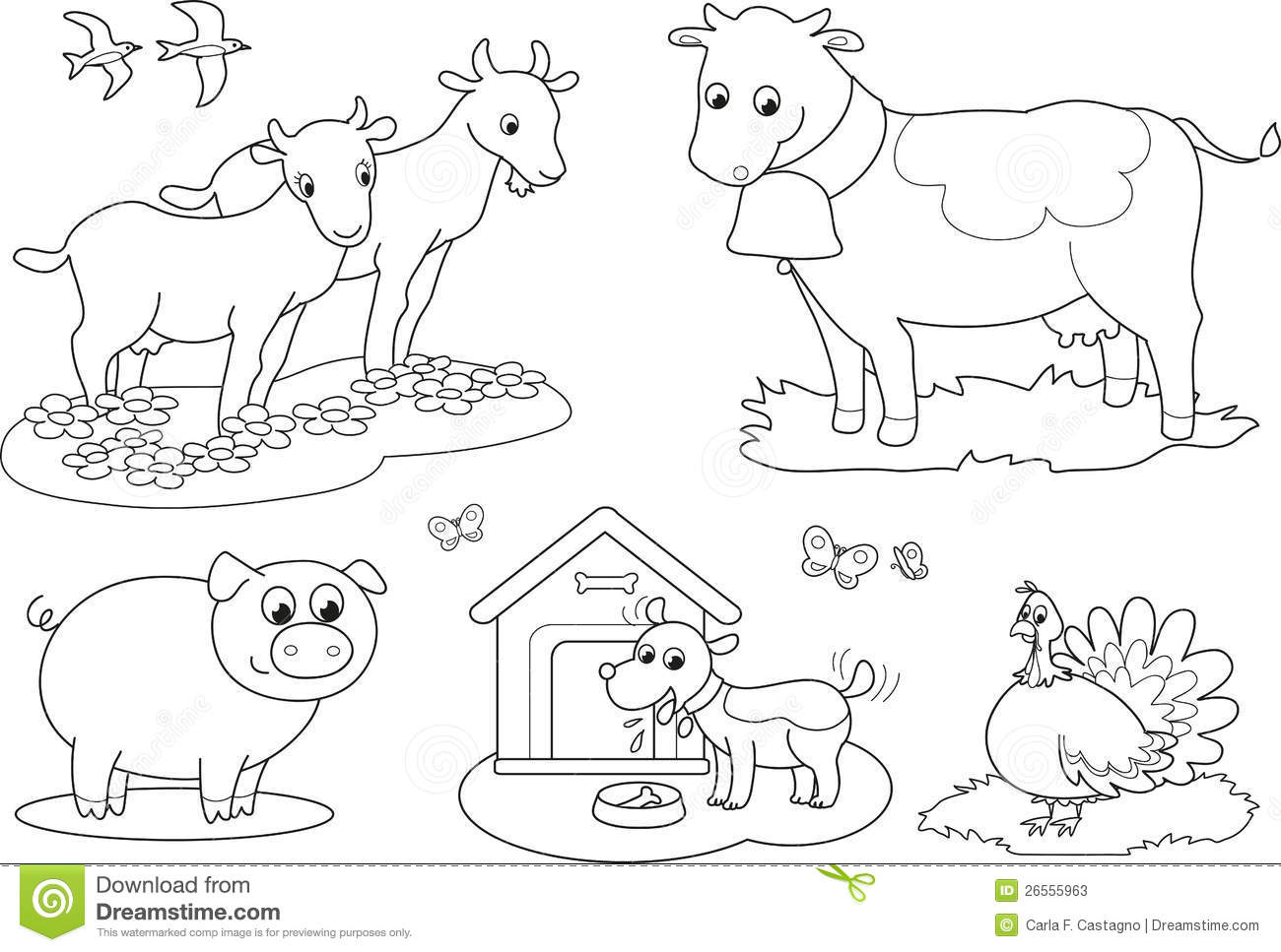 Download Coloring Farm Animals 2 Stock Vector Illustration Of Black