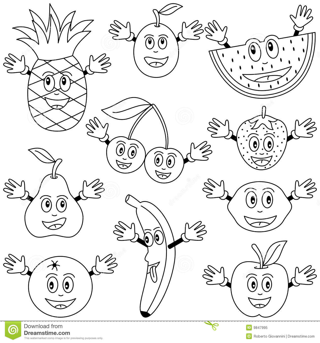 Coloring Fruit Characters Royalty Free Stock Photo Image 9847995