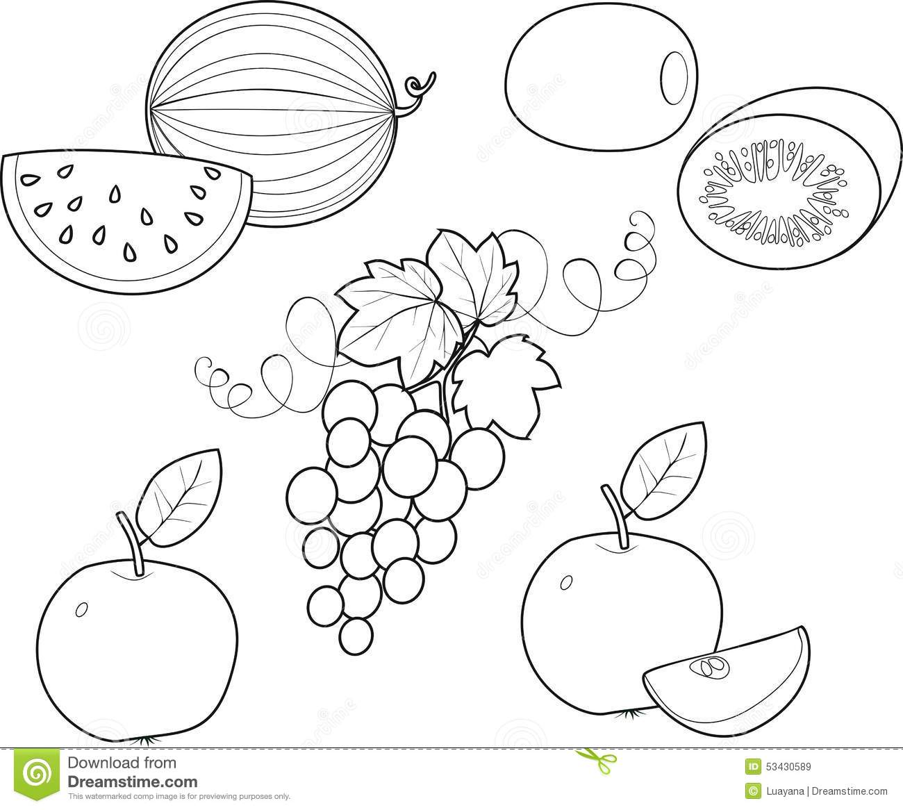 Coloring Fruit Stock Vector - Image: 53430589