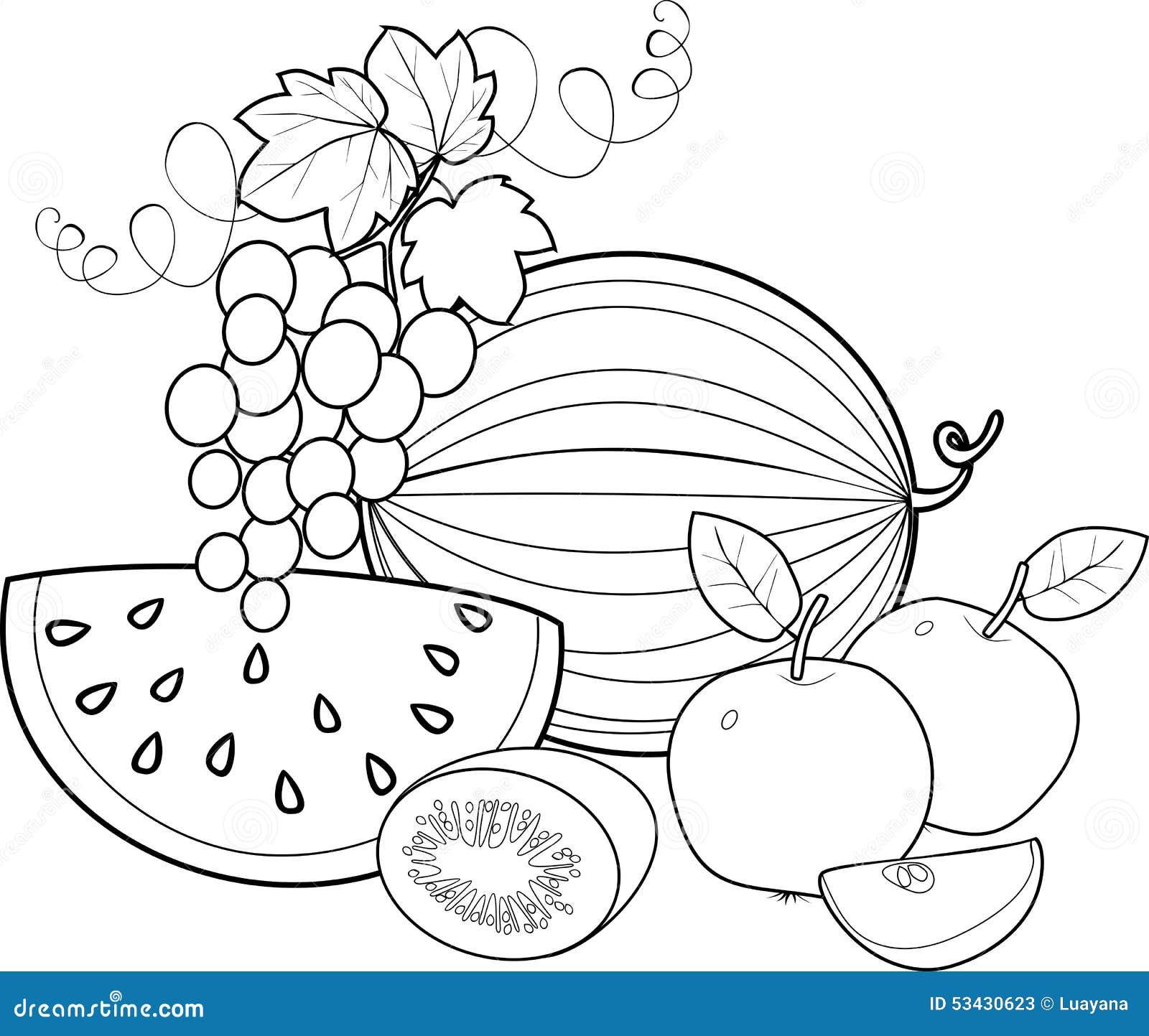 Раскраски для детей фрукты для детского сада
