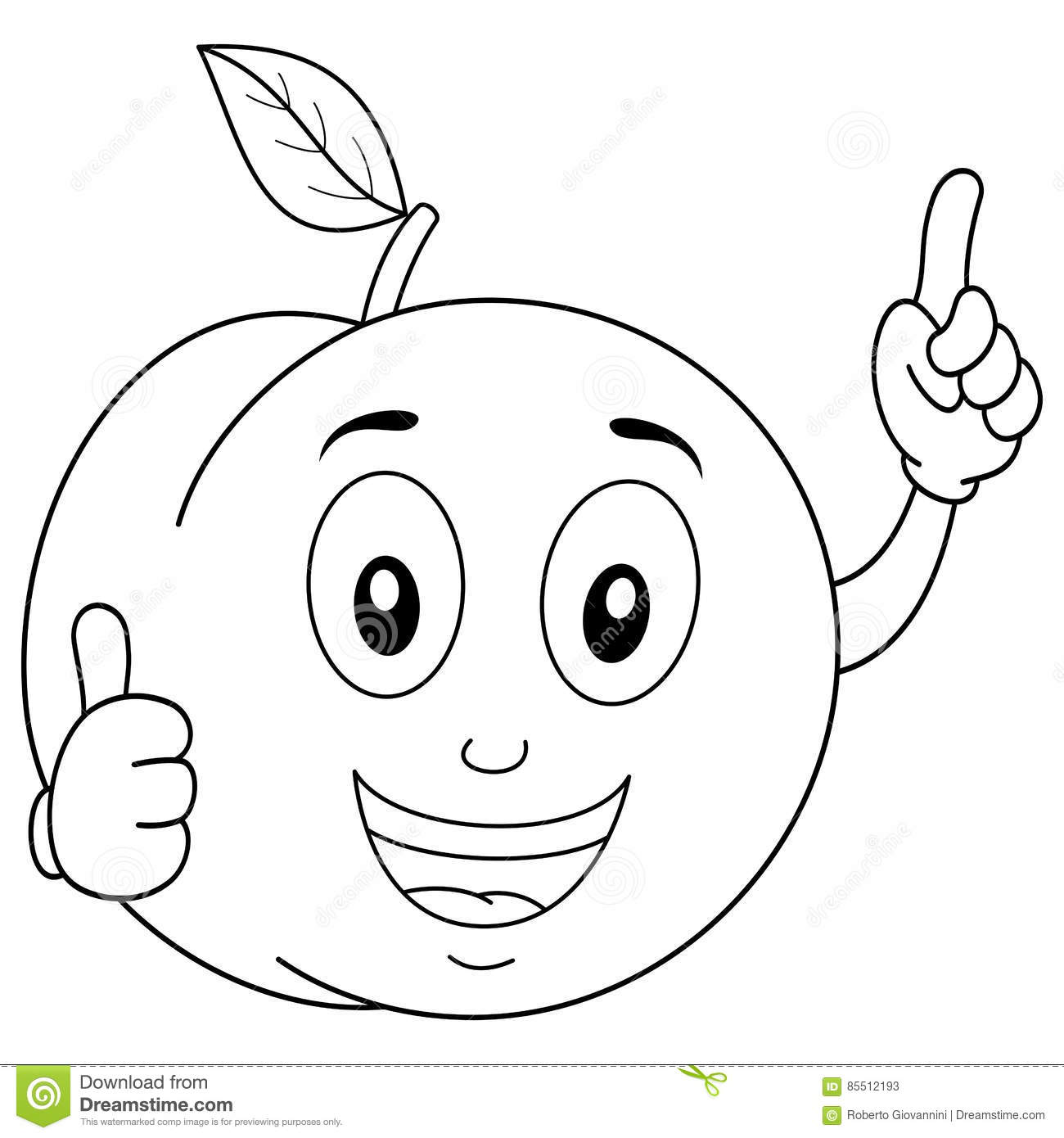 Coloring Funny Peach Character Smiling Stock Vector