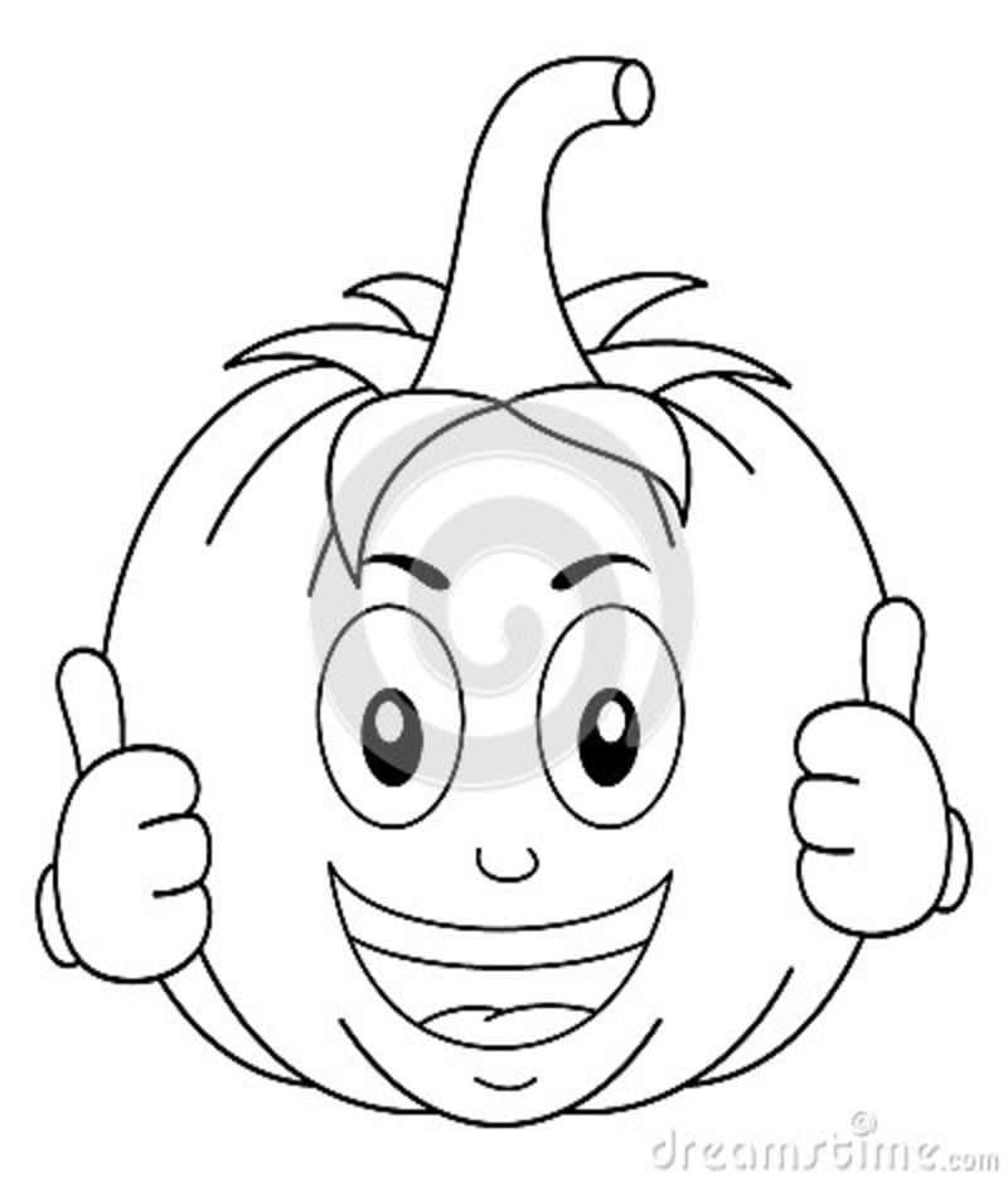 Coloring Funny Pumpkin Cartoon Character Stock Vector Illustration