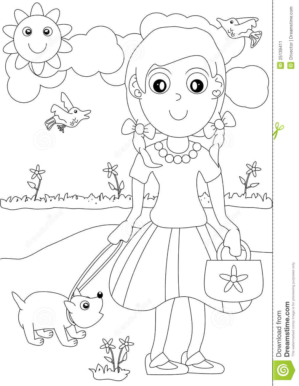 Coloring Girl And Dog Outdoor_eps Stock Vector - Illustration of ...