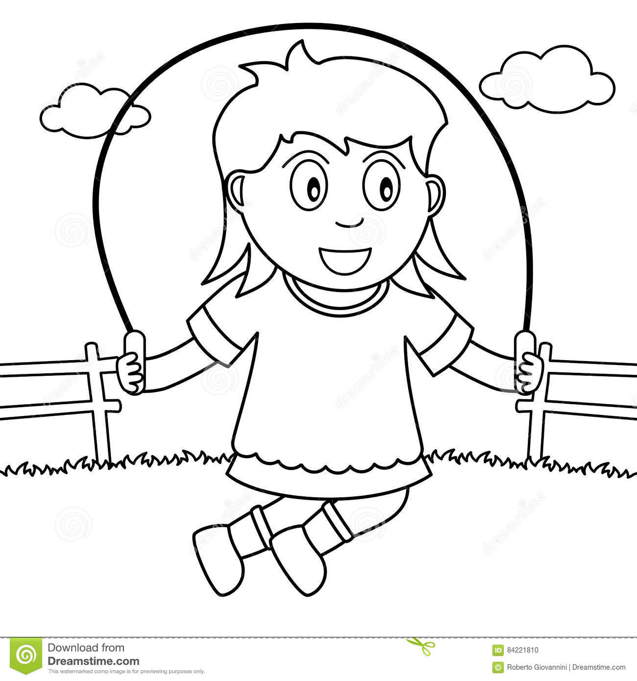 rope coloring pages - coloring girl skipping with rope in the park stock vector