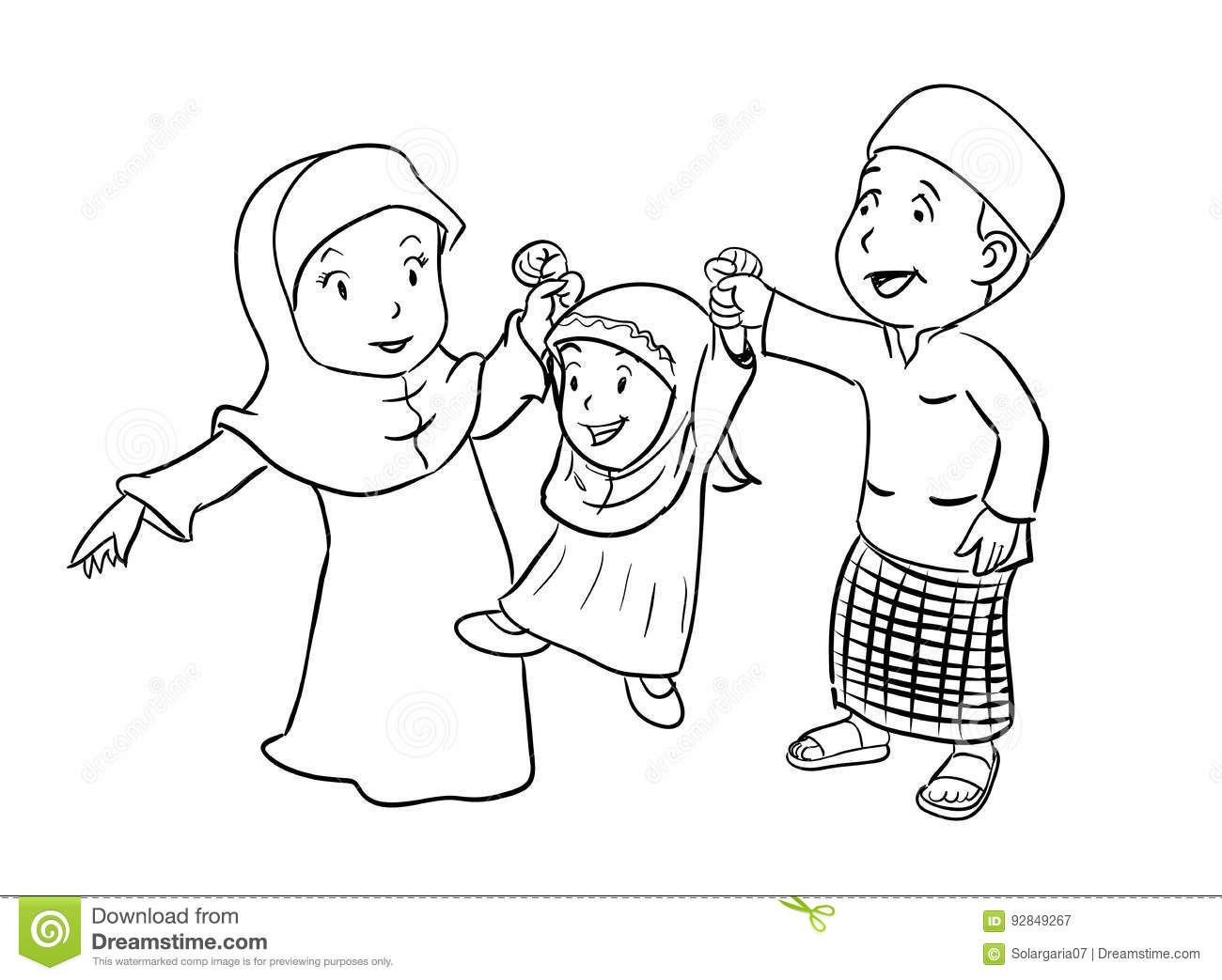 coloring happy muslim family vector illustration stock vector
