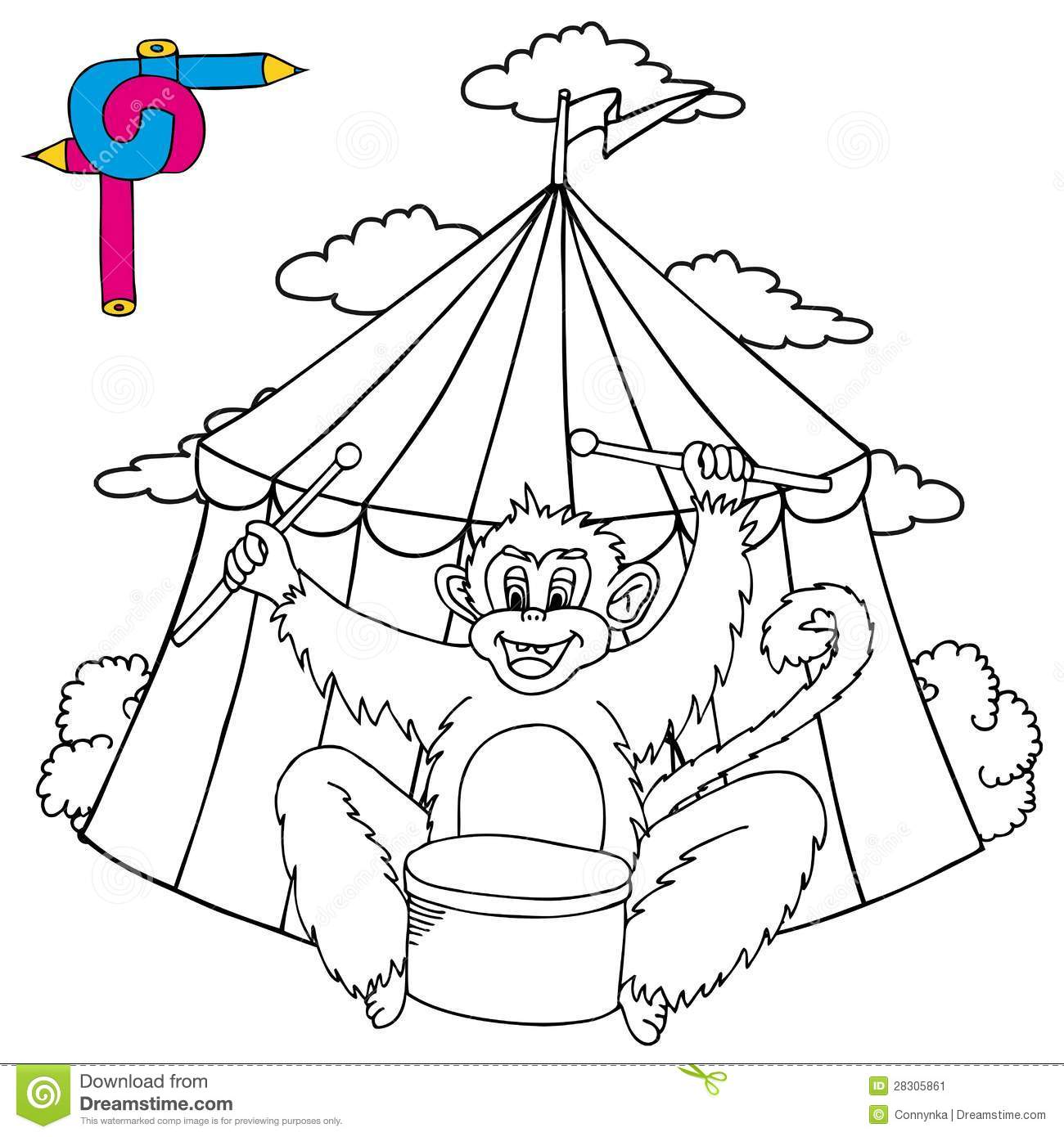 carnival monkey coloring pages - photo#31