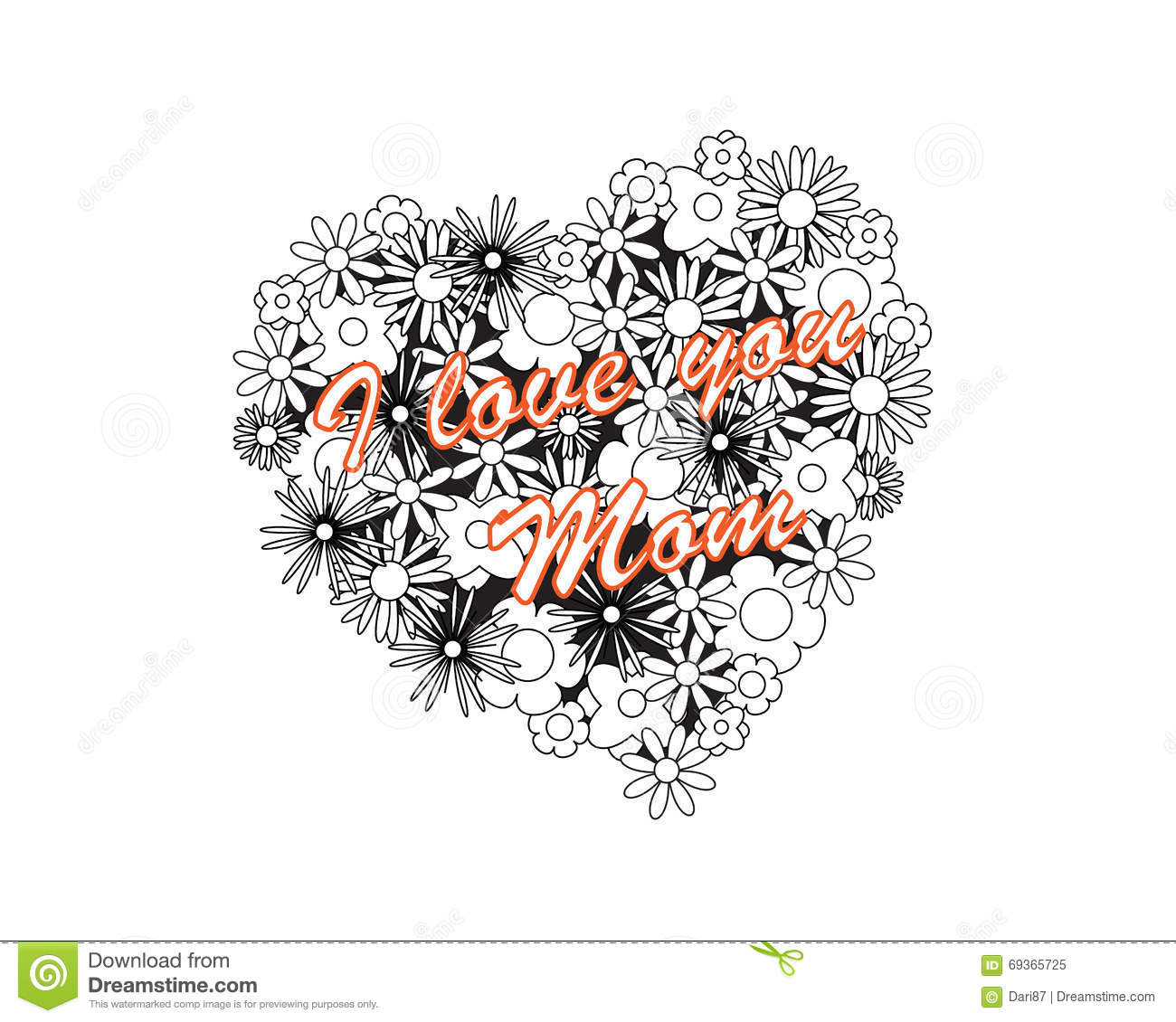 coloring image heart mothers day page adult od kids simple floral text saying i love my mom