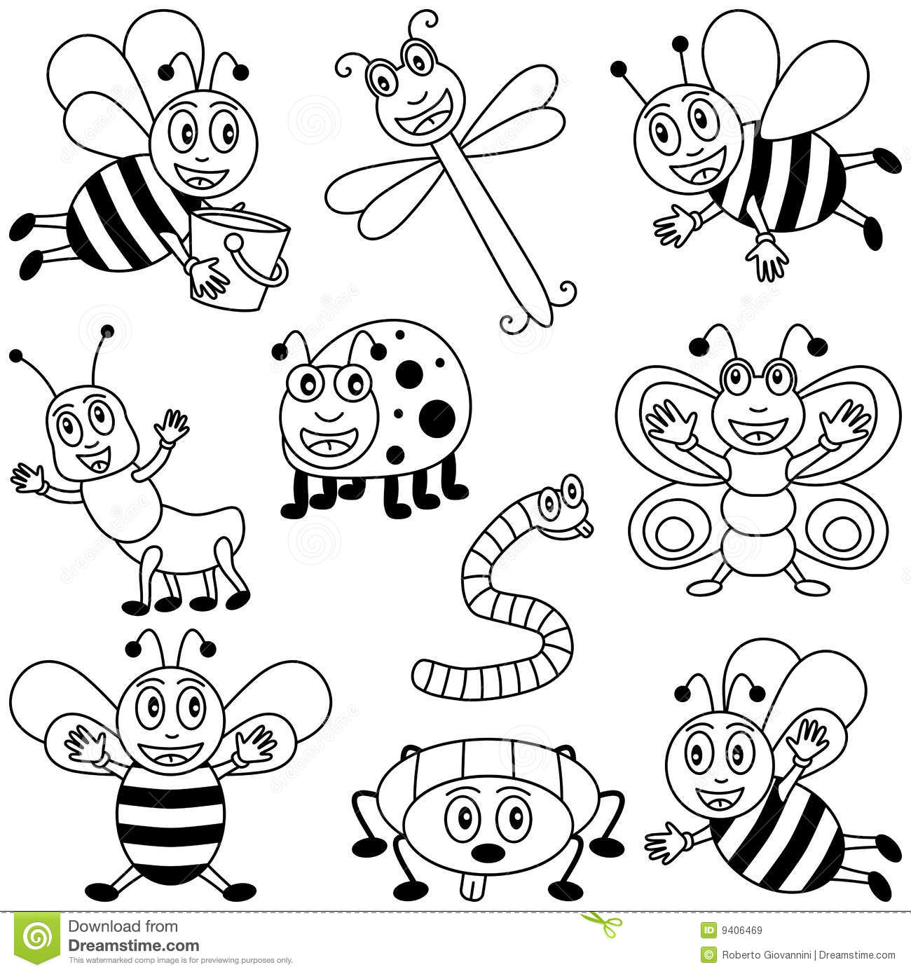 Coloring Book Pages Insects Coloring Insects For Kids Royalty Free Stock Images