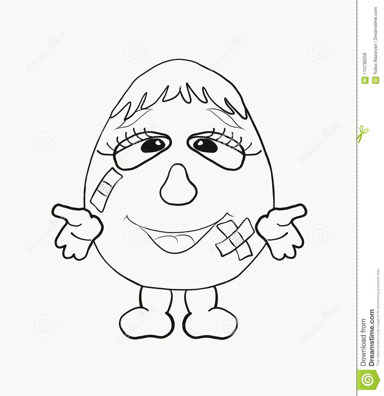 Coloring for kids, funny egg boy With wounds sealed with adhesive tape