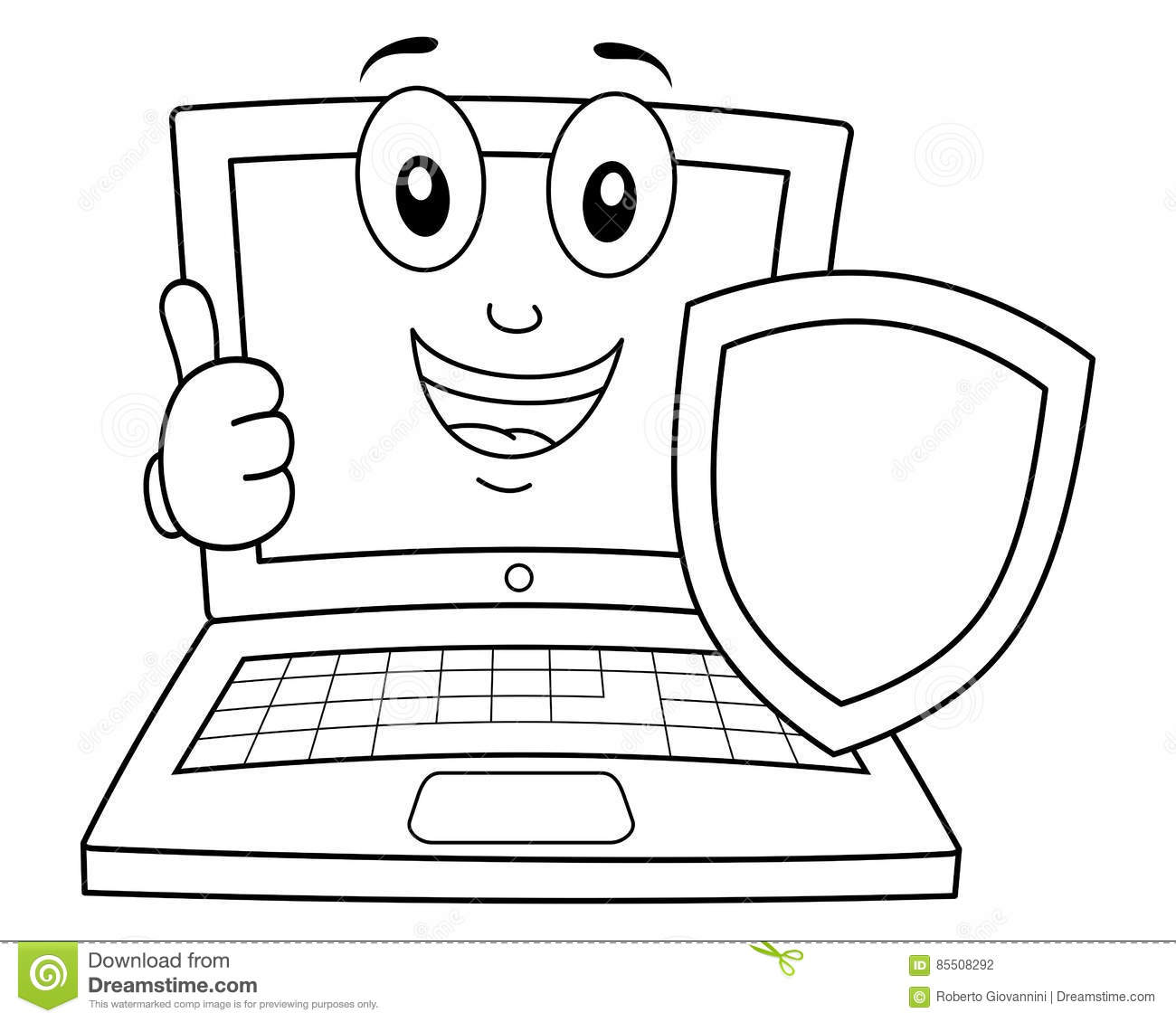 Coloring Laptop Or Notebook With Shield Stock Vector - Illustration ...