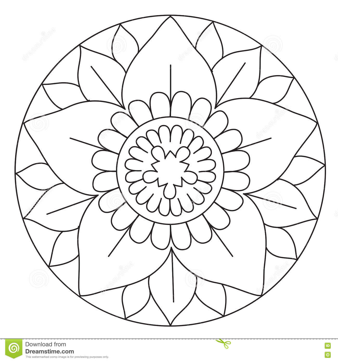 coloring lovely flower mandala stock vector image 72957692