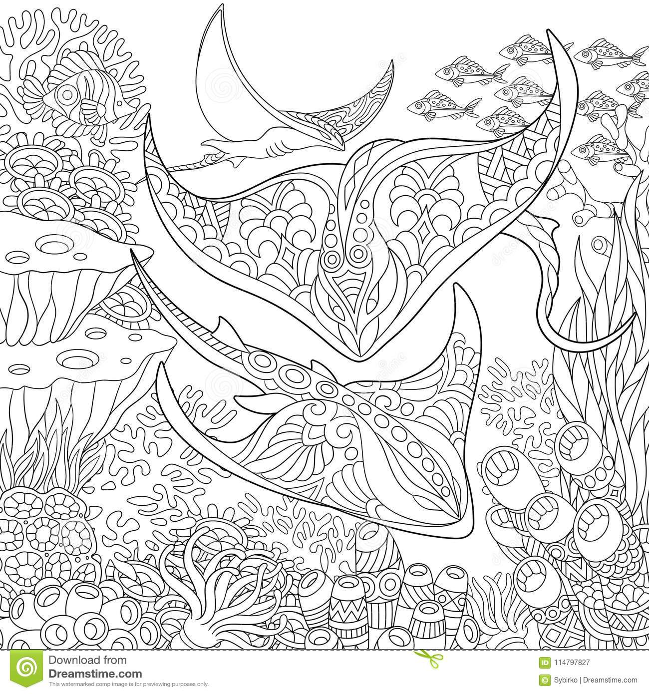 Zentangle Underwater Background Stock Vector Illustration Of Deep