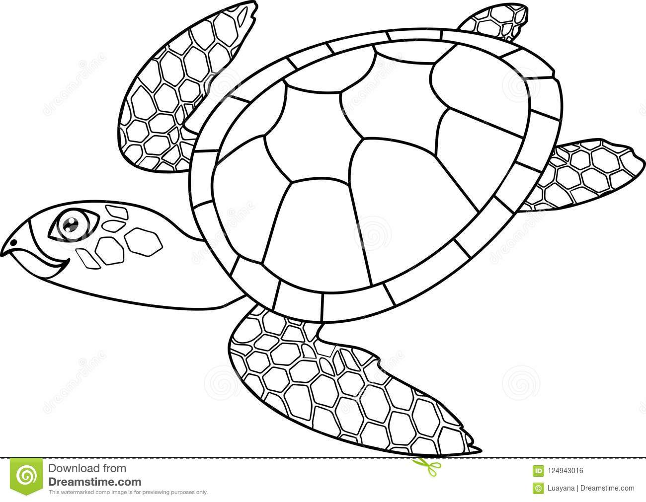 Coloring Page. Adult Cute Cartoon Swimming Sea Turtle Stock Vector ...