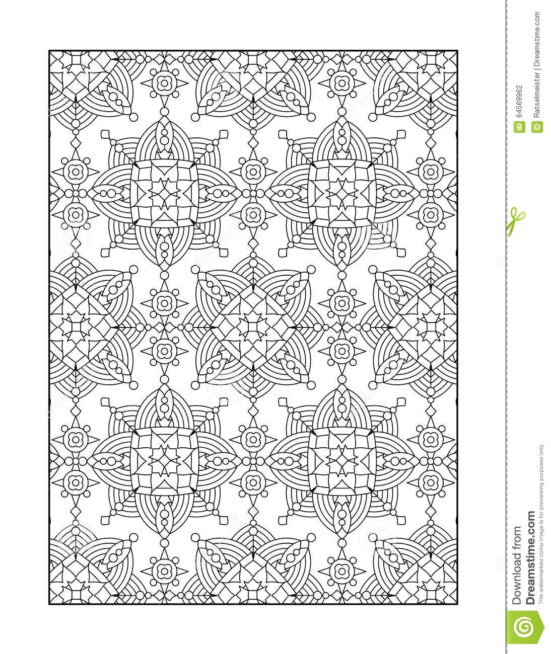 Mandala or whimsical snowflake line art design cartoon for Background coloring pages